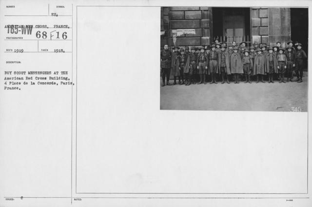 Boy's Activities - War Work in Europe - Boy Scout messengers at the american Red Cross Building, 4 Place de la Concorde, Paris, France