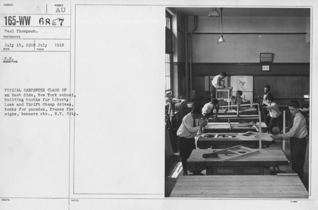 Boy's Activities - War Work - Typical Carpenter Class of an East Side, New York School, building booths for Liberty Loan and Thrift Stamp drives, tanks for parades, frames for signs, banners etc., N.Y. City
