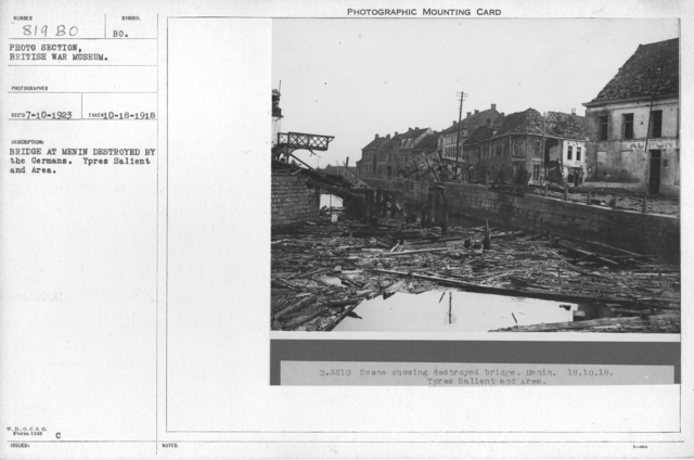 Bridge at Menin destroyed by the Germans. Ypres Salient and Area. 10-18-1918