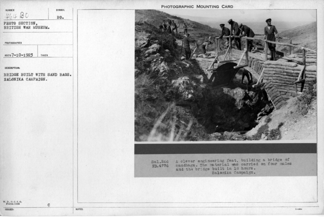Bridge built with sand bags. Salonika Campaign