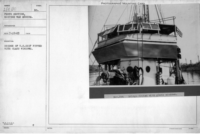 Bridge of U.S. ship fitted with glass windows