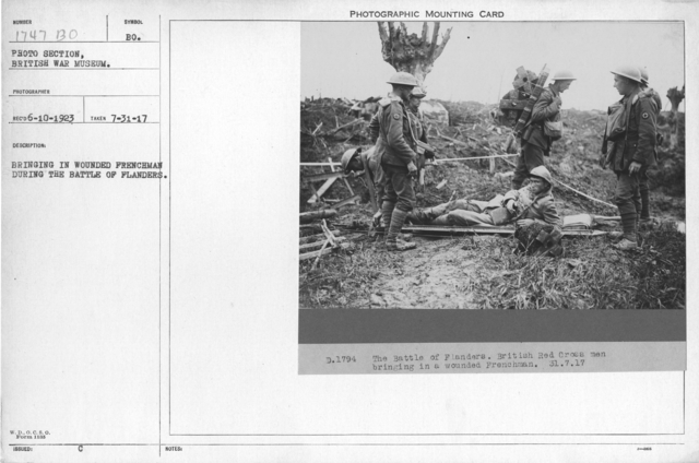 Bringing in wounded Frenchman during the battle of Flanders