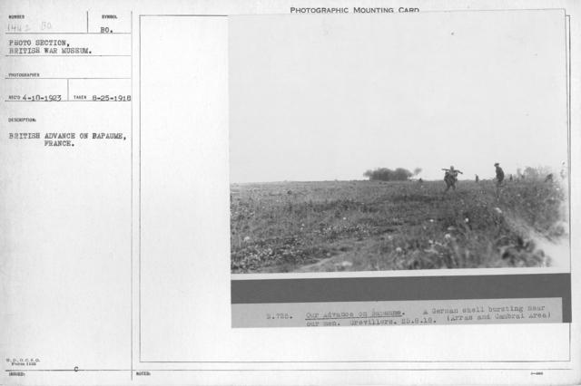 British advance on Bapaume, France