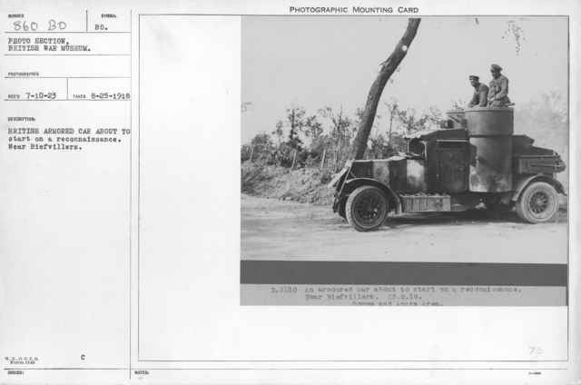 British armored car about to start on a reconnaissance. Near Biefvillers. 8-25-1918