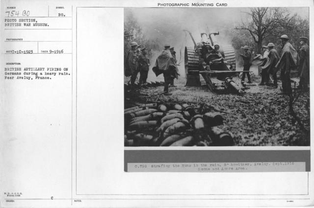 British artillery firing on Germans during a heavy rain. Near Aveluy, France. September 1916