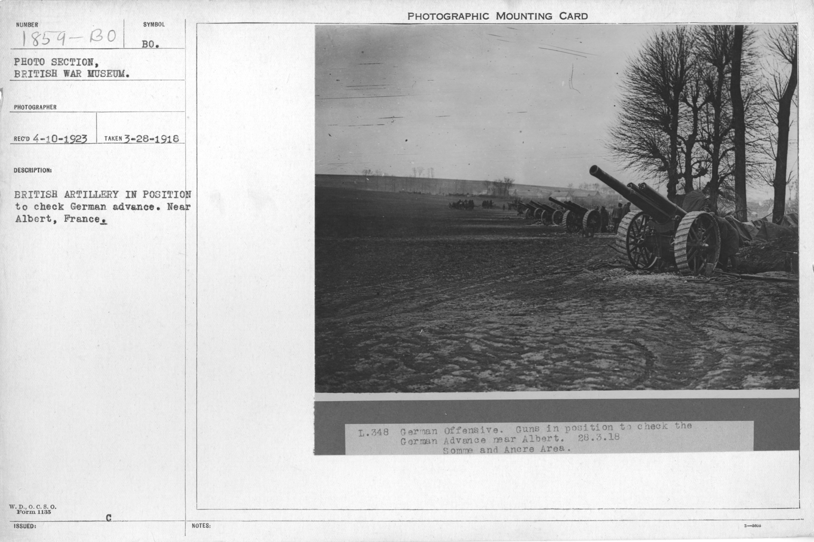 British artillery in position to check German advance. Near Albert, France