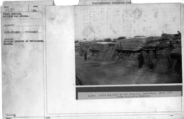 British dugouts at Feuilleres, France