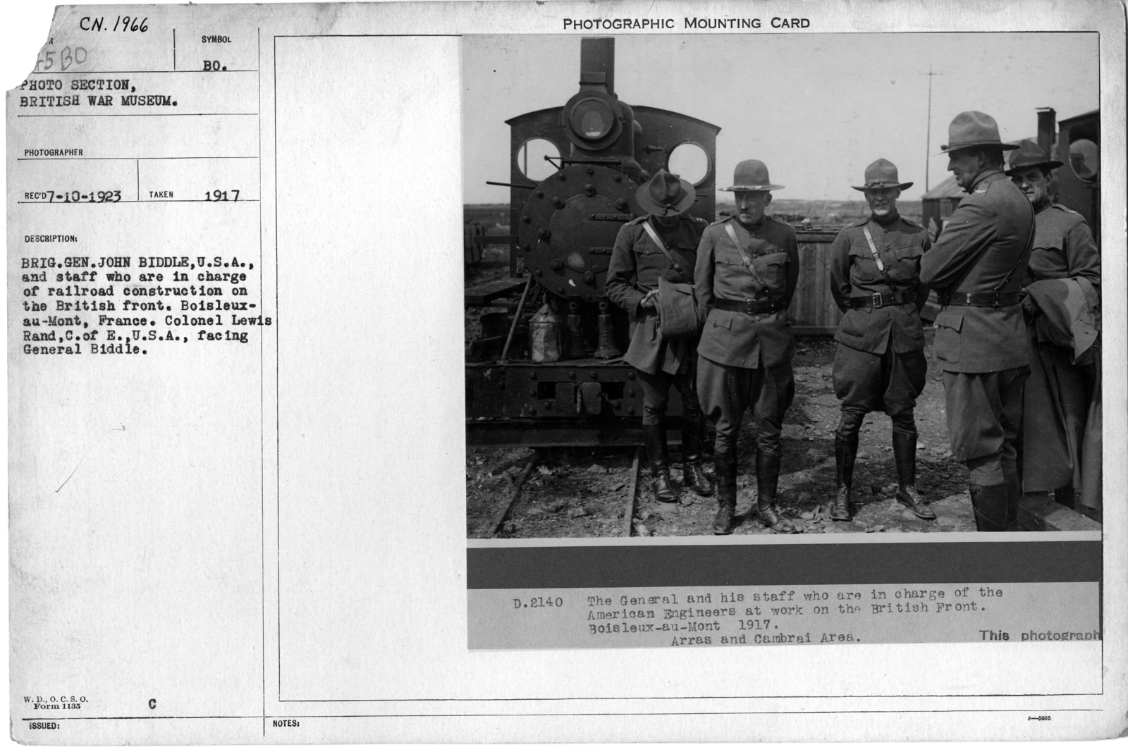 British Gen. John Biddle, U.S.A., and staff who are in charge of railroad construction on the Britain front. Boisleux-au-Mont, France. Colonel Lewis Rand, C. of E. U.S.A., facing General Biddle