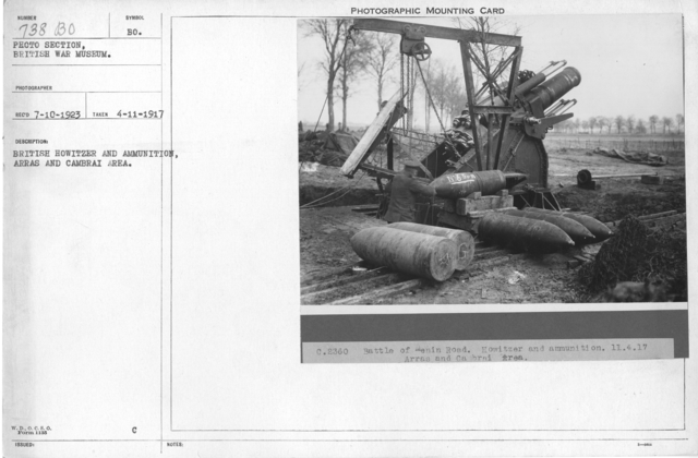British Howitzer and Ammunition, Arras and Cambrai Area. 4-11-1917