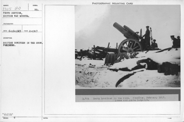 British Howitzer in the snow. Pozieres