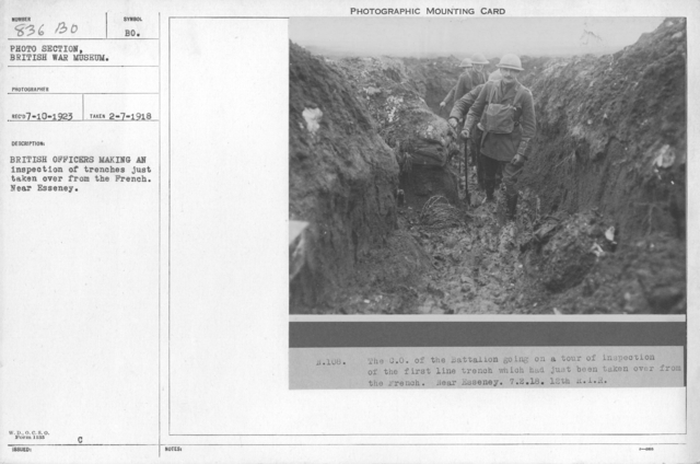 British officers making an inspection of trenches just taken over from the French. Near Esseney. 2-7-1918