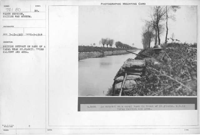 British outpost on bank of canal near St. Floris. Ypres Salient and Area. 5-9-1918