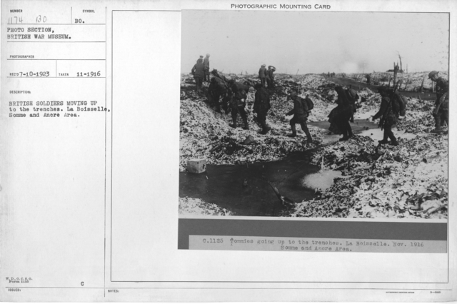 British soldiers moving up to the trenches. La Boisselle, Somme and Ancre Area