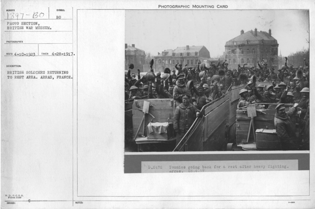 British soldiers returning to rest area. Arras, France