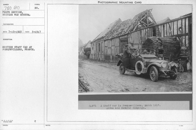 British staff car at Fonquevillers, France. March 1917