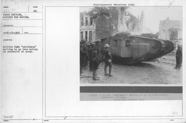 "British tank ""Lusitania"" waiting to go into action on outskirts of Arras"