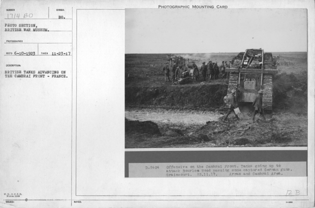 British tanks advancing on the Cambrai front - France
