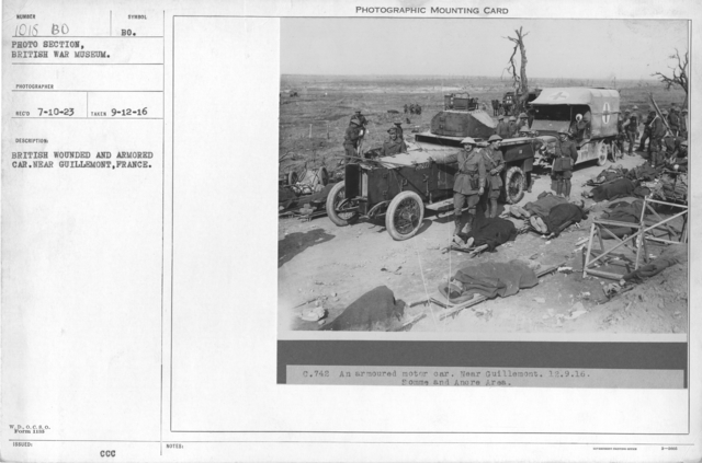 British wounded and armored car. Near Guillemont, France