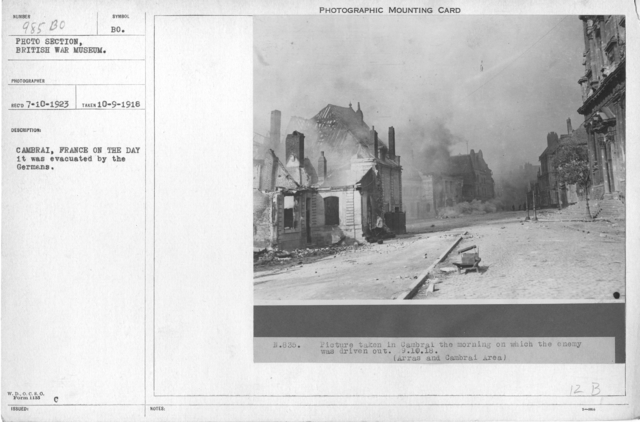 Cambrai, France on the day it was evacuated by the Germans