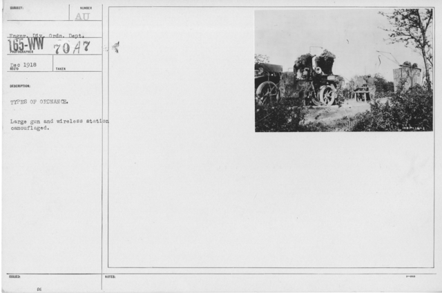 Camouflage - Artillery - Types of ordnance. Large gun and wireless station camouflaged