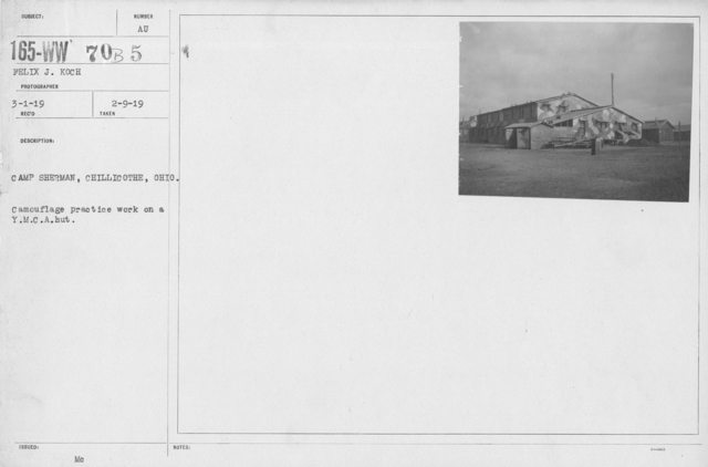 Camouflage - Buildings - Camp Sherman, Chillicothe, Ohio. Camouflage practice work on Y.M.C.A. Hut