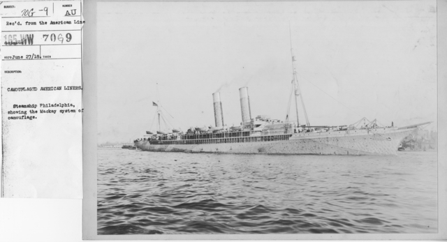 Camouflage - Ships - Camouflaged American liners. Steamship Philadelphia, showing the Mackay system of camouflage