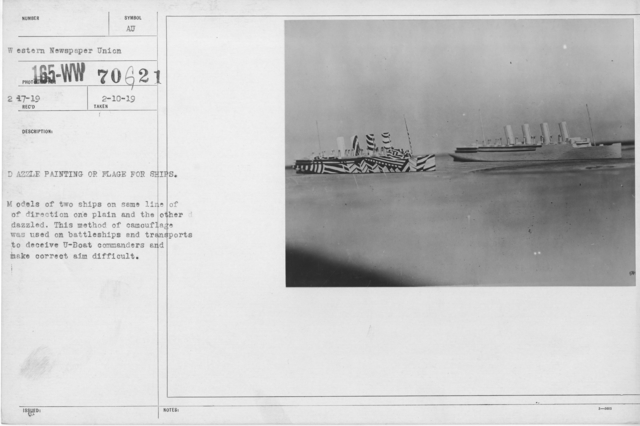 Camouflage - Ships - Dazzle Painting or Flag for Ships. Models of two ships on same line of direction one plan and the other dazzled. This method of camouflage was used on battleships and transports to deceive U-Boat commanders and make correct aim difficult