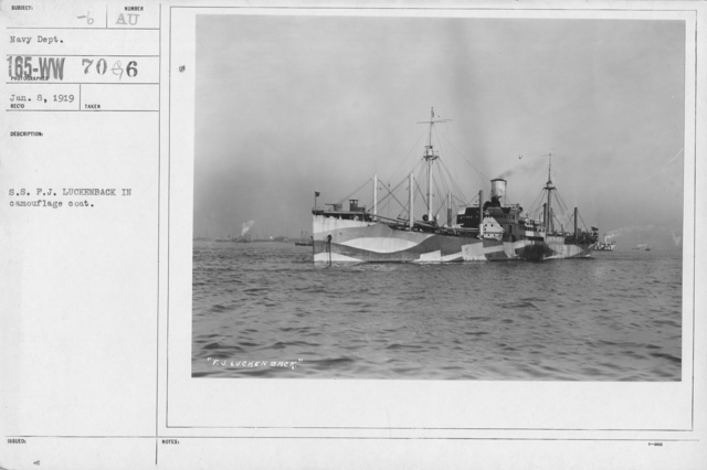Camouflage - Ships - S.S. F.J. Luckenback in camouflage coat