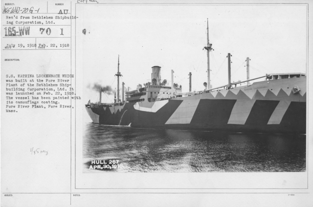 Camouflage - Ships - S.S. Katrina Luckenback which was built at the Fore River Plant of the Bethlehem Shipbuilding Corporation, Ltd. It was launched on Feb. 22, 1918. The vessel has been painted with its camouflage coating. Fore River Plant, Fore River, Mass