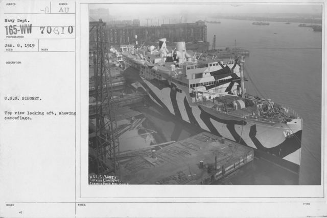 Camouflage - Ships - U.S.S. Siboney. Top view looking aft, showing camouflage