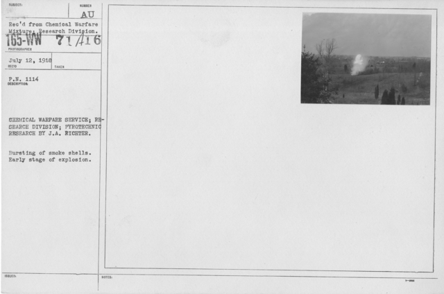 Camouflage - Smoke Screens - Chemical Warfare Service; Reaseach Division; Pyrotechnic Research by J.A. Richter. Bursting of smoke shells. Early stage of explosion
