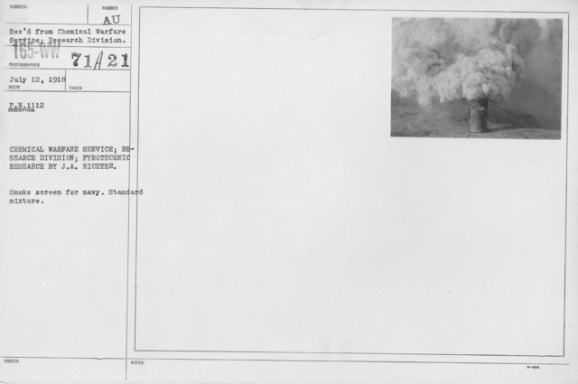Camouflage - Smoke Screens - Chemical Warfare Service; Research Division; Pyrotechnic Research by J.A. Richter. Smoke screen for Navy. Standard mixture