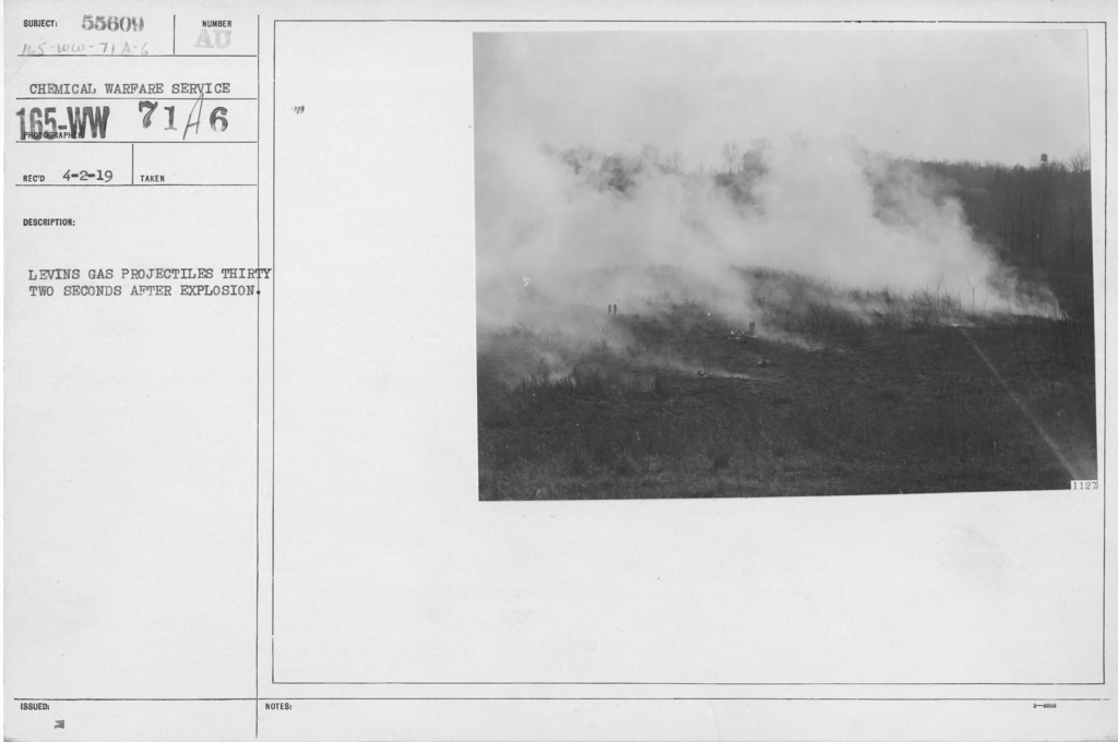 Camouflage - Smoke Screens - Levins gas projectiles thirty two seconds after explosion