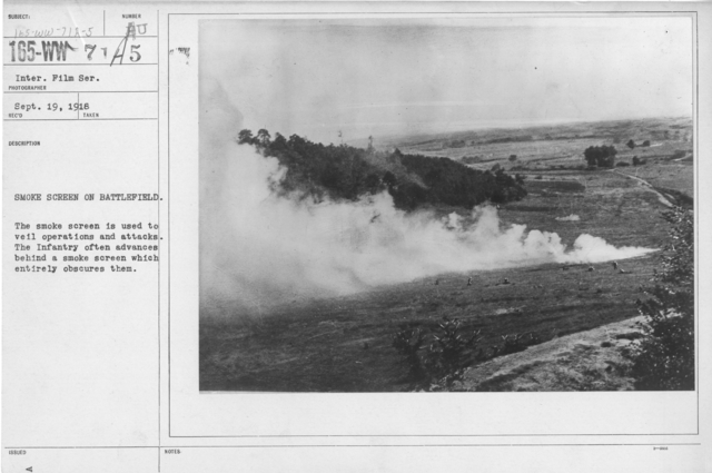 Camouflage - Smoke Screens - Smoke screens on battlefield. The smoke screen is used to veil operations and attacks. The Infantry often advances behind a smoke screen which entirely obscure them