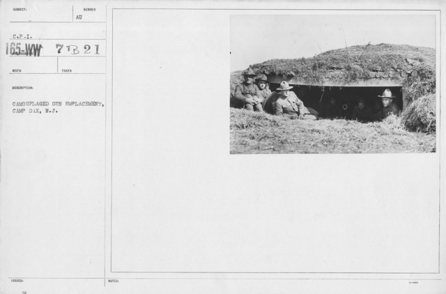 Camouflage - Soldiers Training - Camouflaged gun emplacement, Camp Dix, N.J
