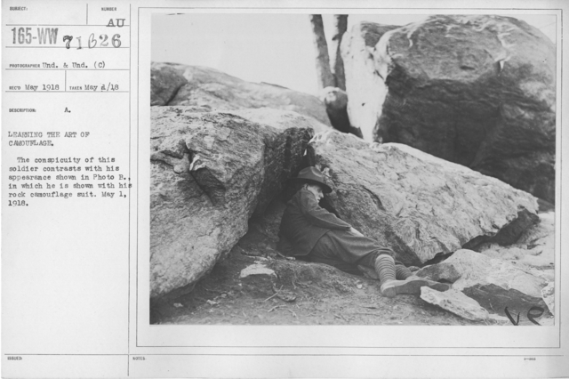 Camouflage - Soldiers Training - Learning the art of camouflage. The conspicuity of this soldier contrasts with his appearance shown in Photo B., in which he is shown with his rock camouflage suit. May 1, 1918