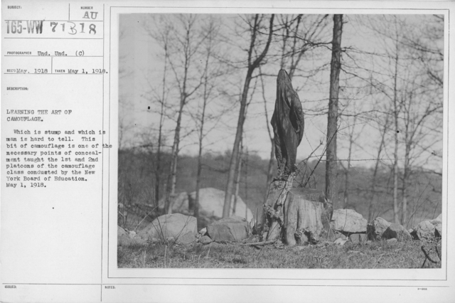 Camouflage - Soldiers Training - Learning the art of camouflage. Which is stump and which is man is hard to tell. This bit of camouflage is one of the necessary points of concealment taught the 1st and 2nd platoons of the camouflage class conducted by the New York Board of Education. May 1, 1918