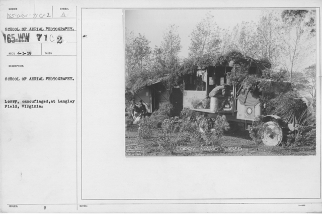 Camouflage - Vehicles - School of Aerial Photography. Lorry, camouflaged, at Langley Field, Virginia