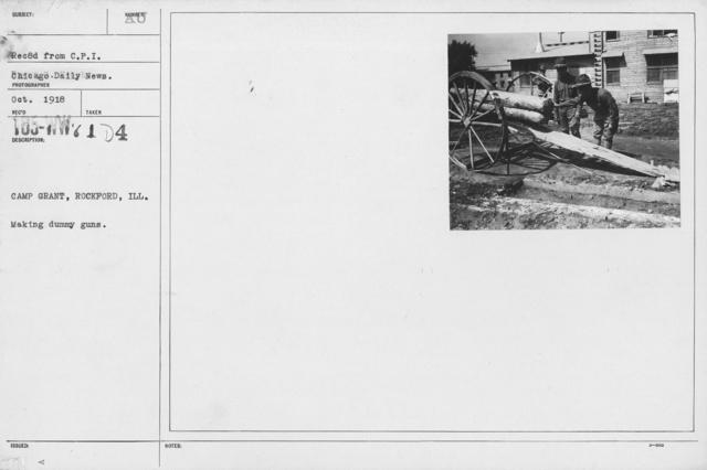 Camouflage - Wooden Guns - Camp Grant, Rockford, Ill. Making dummy guns