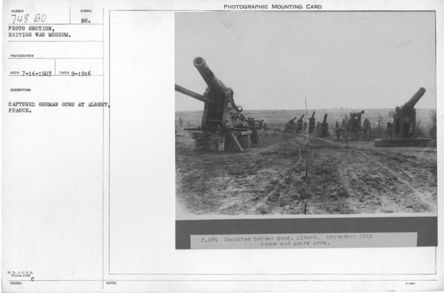 Captured German guns at Albert, France. September 1916