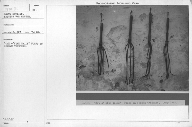 """Cat O'Nine Tails"" found in German trenches"