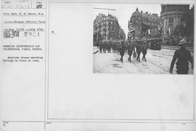 Ceremonies - American Independence Day, 1918 - France - American Independence Day Celebration, Paris, France. American troops marching through La Place de Jena