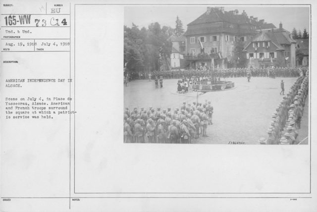 Ceremonies - American Independence Day, 1918 - France - American Independence Day in Alsace. Scene on July 4, in Place de Yassecrau, Alsace. American and French troops surround the square at which a patriotic service was held