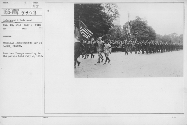 Ceremonies - American Independence Day, 1918 - France - American Independence Day in Paris, France. American Troops marching in the parade held July 4, 1918