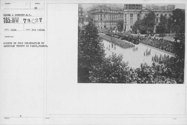 Ceremonies - American Independence Day, 1918 - France - Fourth of July Celebration by American Troops in Paris, France