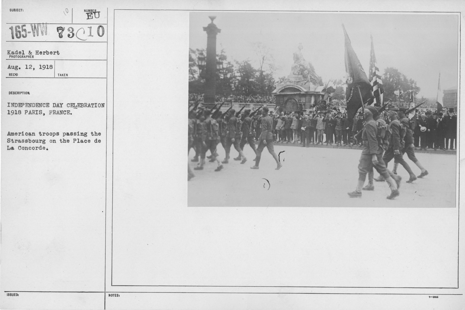 Ceremonies - American Independence Day, 1918 - France - Independence Day celebration 1918, Paris, France. American troops passing the Strassbourg on the Place de La Concorde