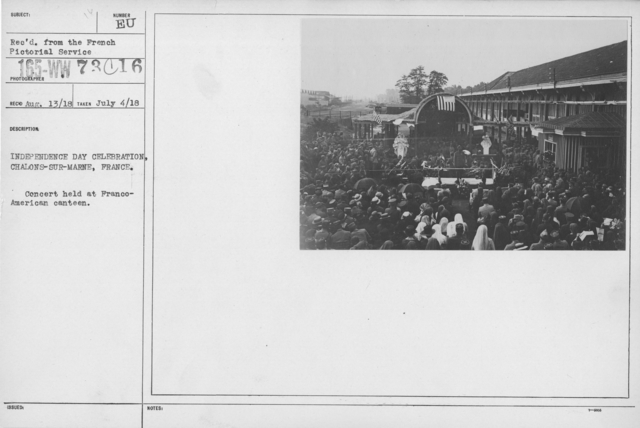 Ceremonies - American Independence Day, 1918 - France - Independence Day Celebration, Chalons-Sur-Marne, France. Concert held at Franco-American veteran