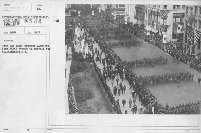 Ceremonies and Parades - 71st New York Infantry marching down Fifth Avenue to entrain for Spartansburg, S.C