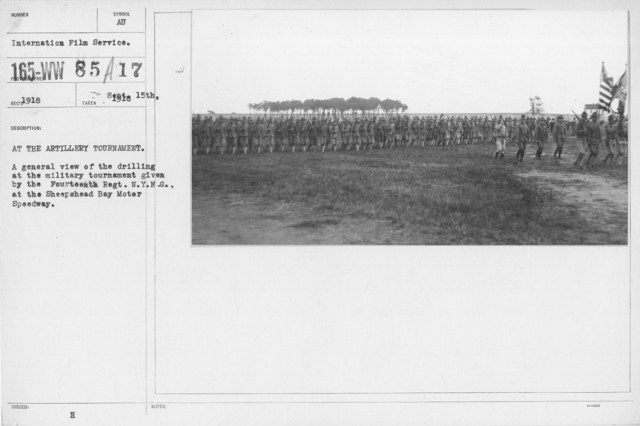 Ceremonies and Parades - At the Artillery Tournament.  A general view of the drilling at the military tournament given by the fourteenth Regt. N. Y. N. G., at the Sheepshead Bay Motor Speedway