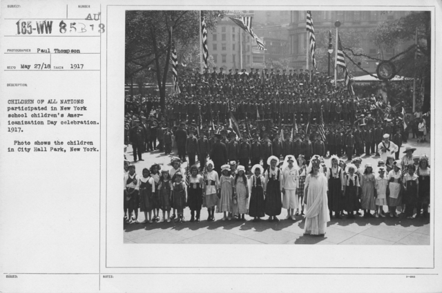 Ceremonies and Parades - Children of all nations participated in New York school children's Americanization Day celebration.  1917.  Photo shows the children in City Hall Park, New York